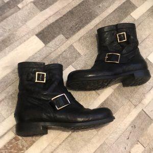 Authentic Jimmy Choo Black Moto boots sz 7.5